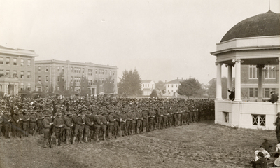 OAC Student Army Training Corps cadets listening to an address by President Kerr