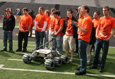 The Oregon State University Robotics Team with the Mars Rover at Reser Stadium