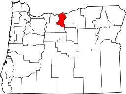 Oregon map highlighting Sherman County