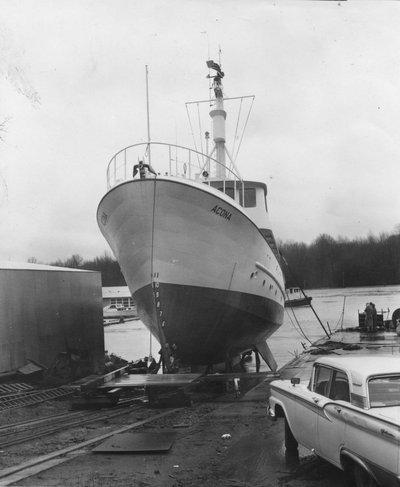 Launching of the <em>Acona</em>, 1961