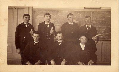 Sepia photograph of John Davidson Letcher with a calculus class.