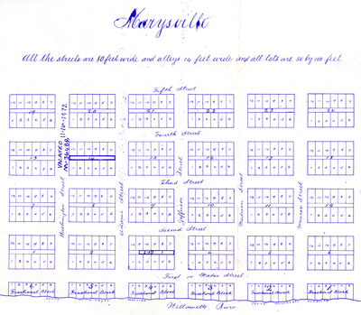 Reproduction of the original 1849 plat map for the town of Marysville, Oregon.