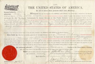 Searcy Homestead Act Certificate