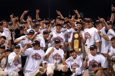 The Beaver baseball team celebrates winning the national championship