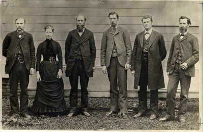 Black and white photograph of the 1883 Corvallis College faculty.