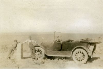 Chester and Owen Searcy with Model T Ford