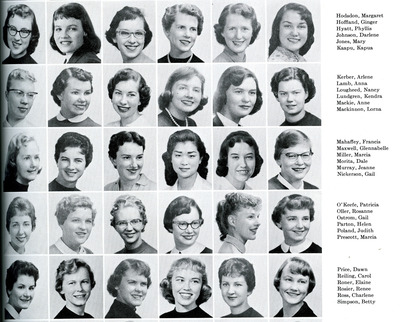 Gail Nickerson in the 1958 Beaver Yearbook