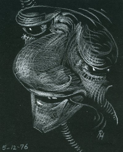 Black and white pastel caricatures by Roger Hayward.