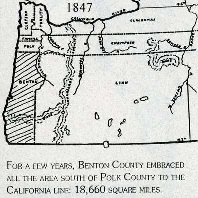 Map of 1847 Oregon Counties