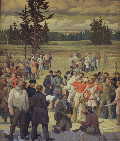 """""""Champoeg, 1843"""" mural in mounted in the Oregon House of Representatives, State Capitol, Salem, Oregon"""