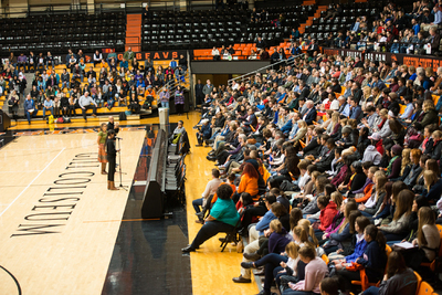 Student speak-out at Gill Coliseum