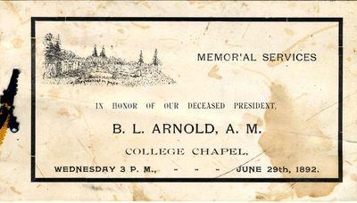 Memorial Service program for B. L. Arnold.