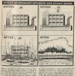 """Newspaper clipping: """"The Effect of Ordinary Explosive and Atomic Bombs"""""""